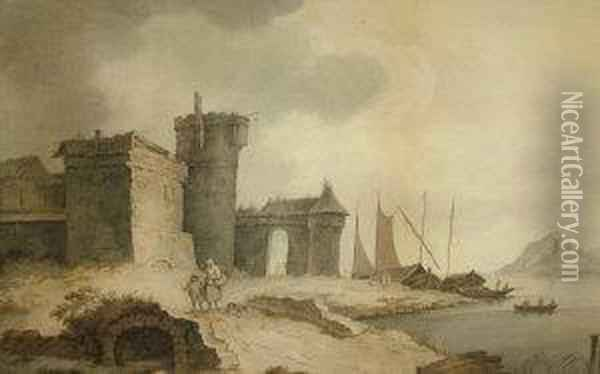 Figures By A Lakeside Castle Oil Painting - Anthony Vandyke Copley Fielding