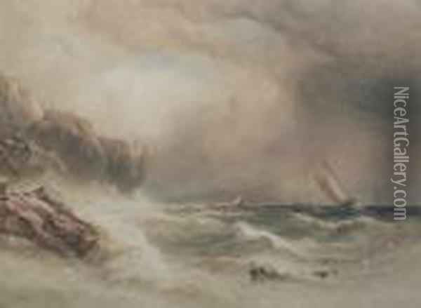 Sailing Vessels Off A Rocky Coast Oil Painting - Anthony Vandyke Copley Fielding