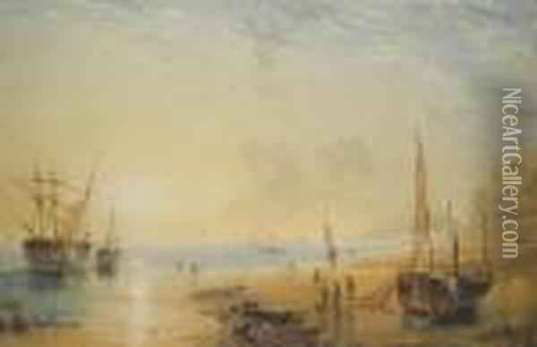 Fisherfolk On The Shore Near Dover At Sunset Oil Painting - Anthony Vandyke Copley Fielding