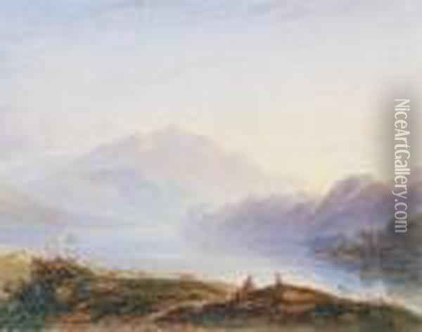 Morning, Loch Achray And Ben Venue Oil Painting - Anthony Vandyke Copley Fielding