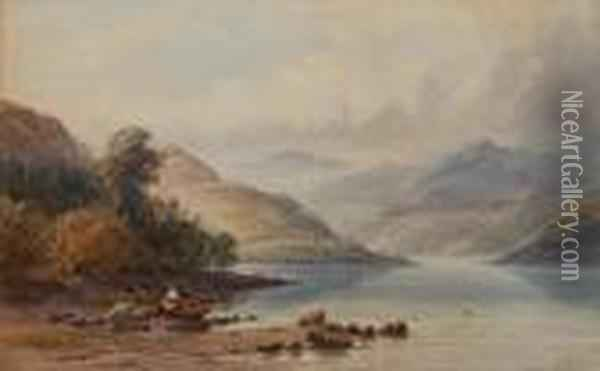Loch Ericht Looking North East Oil Painting - Anthony Vandyke Copley Fielding