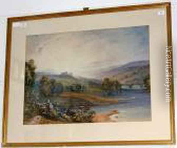 Extensive River Landscape With Distantcastle Oil Painting - Anthony Vandyke Copley Fielding