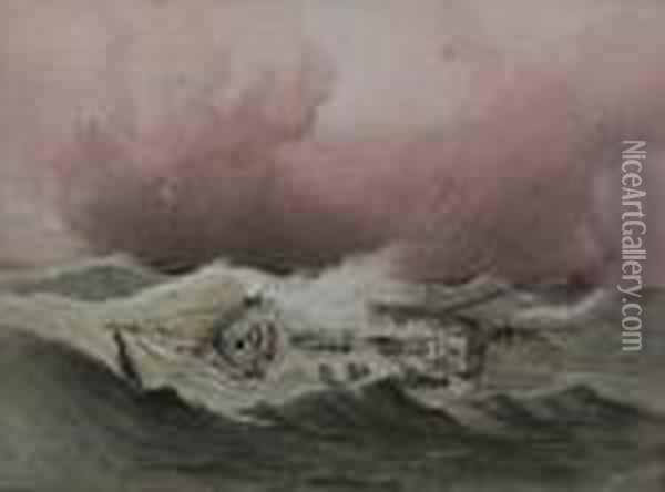 Shipwreckedsailing Ship In Stormy Seas Oil Painting - Anthony Vandyke Copley Fielding