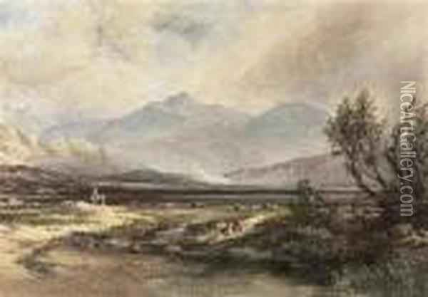 In The Highlands, Scotland Oil Painting - Anthony Vandyke Copley Fielding