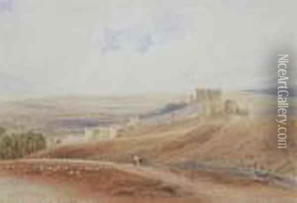 Chateau Near Dieppe; The Wye From Rhayder Oil Painting - Anthony Vandyke Copley Fielding