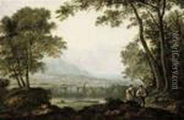 Two Figures In A Landscape, Overlooking A River With A Town Andmountains Beyond Oil Painting - Anthony Vandyke Copley Fielding