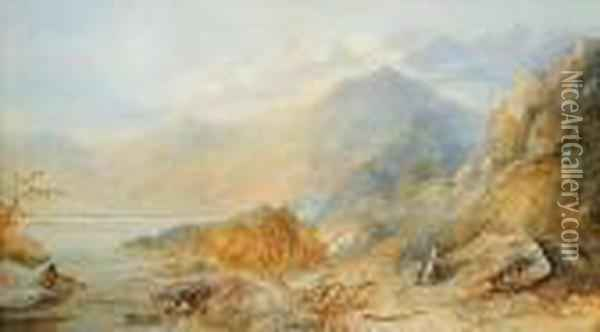 Untitled - Majestic Mountains With Mother Andchild Oil Painting - Anthony Vandyke Copley Fielding