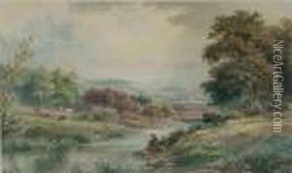Fishing On The River Oil Painting - Anthony Vandyke Copley Fielding