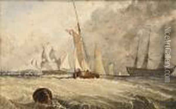 Copley Fielding Portsmouth Harbour Oil Painting - Anthony Vandyke Copley Fielding
