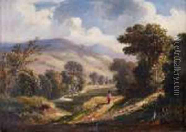 Landscape With Lone Figure Walking Path Oil Painting - Anthony Vandyke Copley Fielding