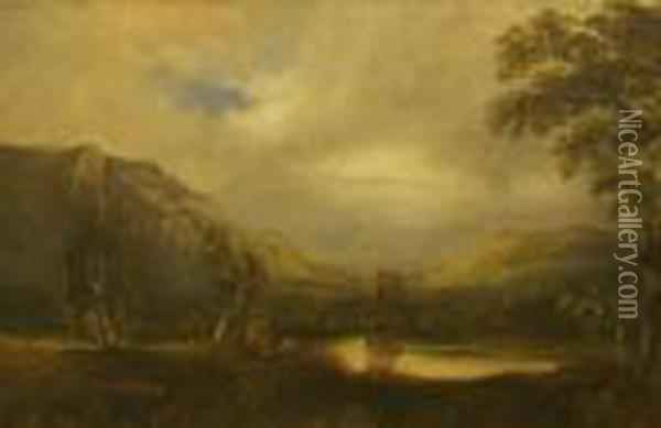 Mountainous Landscape With Lake Oil Painting - Anthony Vandyke Copley Fielding