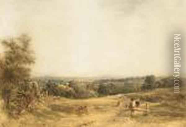 Figures Resting In The Countryside Oil Painting - Anthony Vandyke Copley Fielding