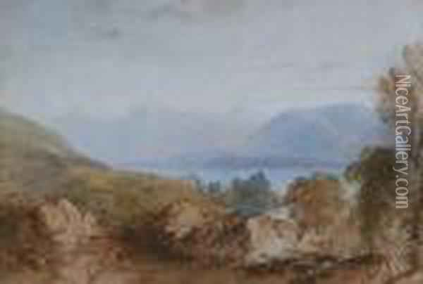 Lake Scene With Mountains In The Background, Rocks And Trees To The Fore Oil Painting - Anthony Vandyke Copley Fielding