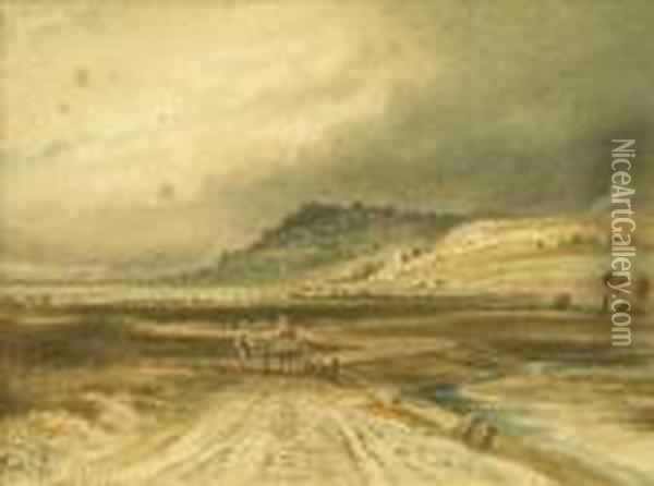 Extensive Estuary Landscape With Figures And Cart, A Church Beyond Oil Painting - Anthony Vandyke Copley Fielding