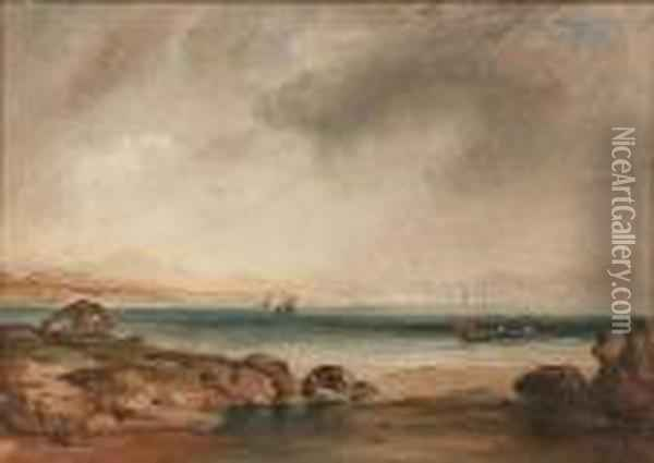 Coastal Scene With Fishing Boats On A Calm Sea Oil Painting - Anthony Vandyke Copley Fielding
