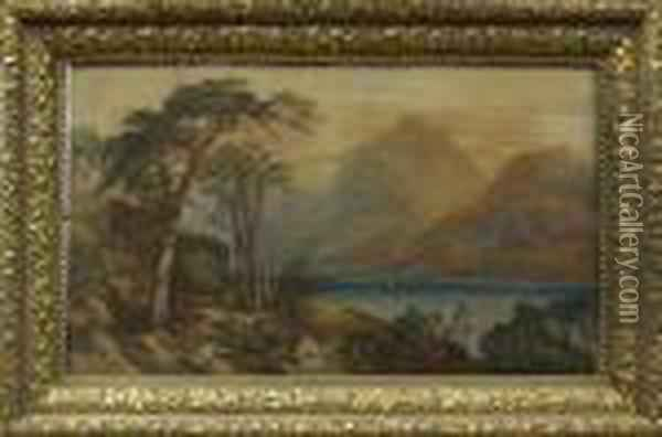 Figures In Anextensive Landscape Oil Painting - Anthony Vandyke Copley Fielding