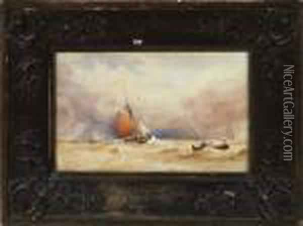 A Sailing Smack And A Rowing Boat Off The Coast Oil Painting - Anthony Vandyke Copley Fielding