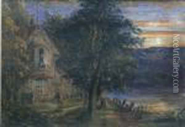 A Sunset Scene With Riverside House Oil Painting - Anthony Vandyke Copley Fielding