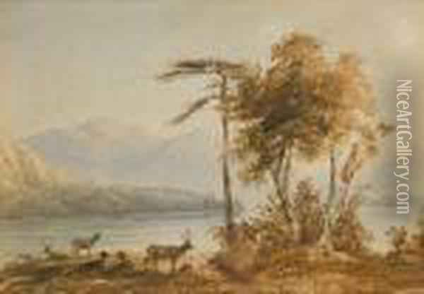 Loch Earn, Perth Oil Painting - Anthony Vandyke Copley Fielding