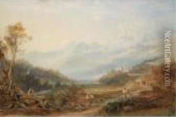 View Of Mount Snowdon From Capel Curig Oil Painting - Anthony Vandyke Copley Fielding