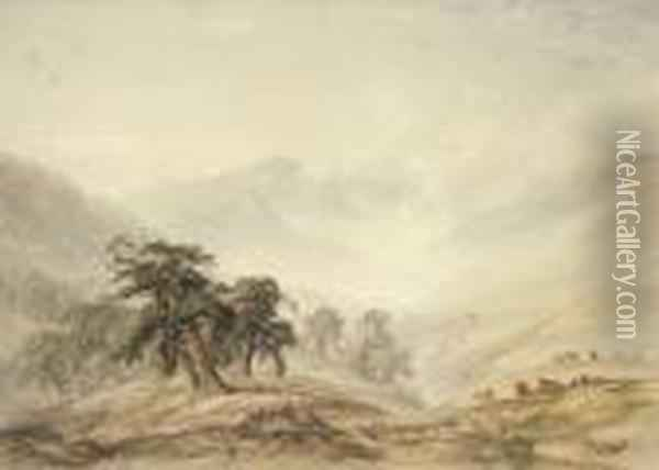 Mists Rising From The Valley, Glen Maree Oil Painting - Anthony Vandyke Copley Fielding