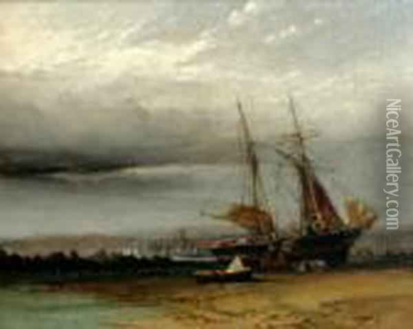 Unloading A Beached Vessel Before A City Oil Painting - Anthony Vandyke Copley Fielding