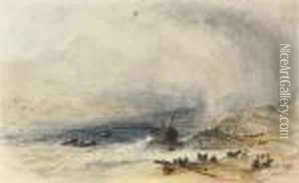 Salvaging The Wreck Oil Painting - Anthony Vandyke Copley Fielding