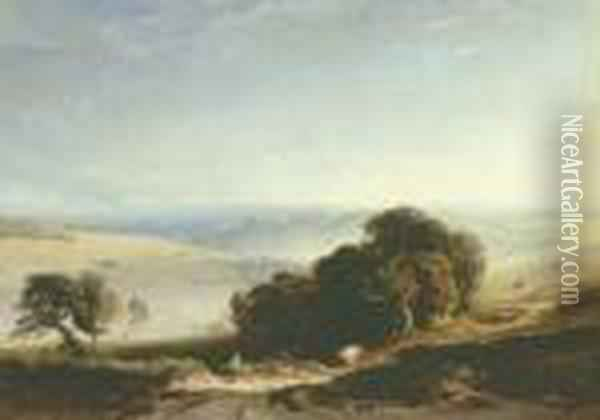 A View Of The South Downs With A Drover In The Foreground, Arundel Castle Beyond Oil Painting - Anthony Vandyke Copley Fielding