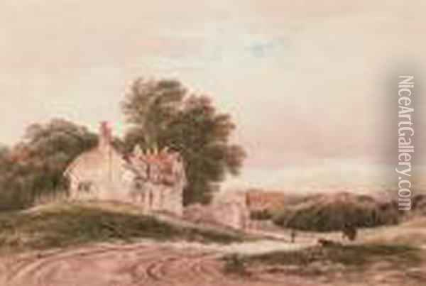 Cottages In A Landscape Oil Painting - Anthony Vandyke Copley Fielding