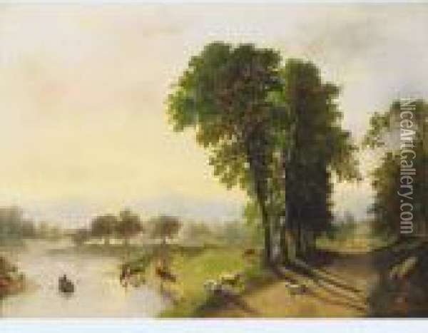 Pastoral With Sheep And Cattle Watering Oil Painting - Anthony Vandyke Copley Fielding