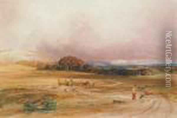 An Extensive Landscape With A Hay-cart And Figures In The Foreground Oil Painting - Anthony Vandyke Copley Fielding