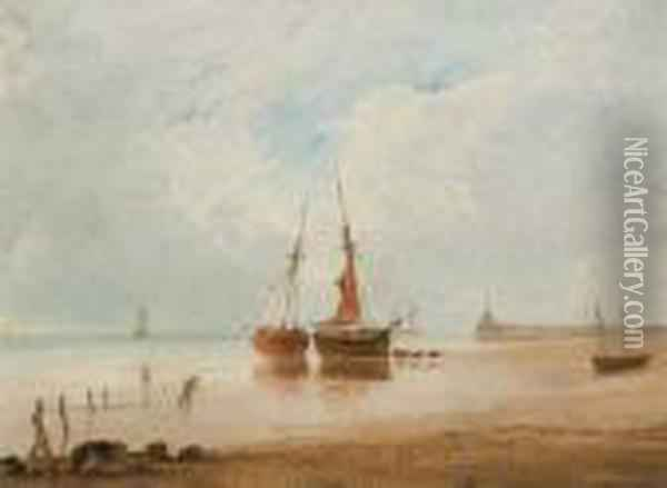 Beached Fishing Vessels At Low Tide Oil Painting - Anthony Vandyke Copley Fielding