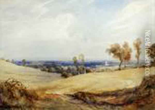 The Sussex Downs Oil Painting - Anthony Vandyke Copley Fielding