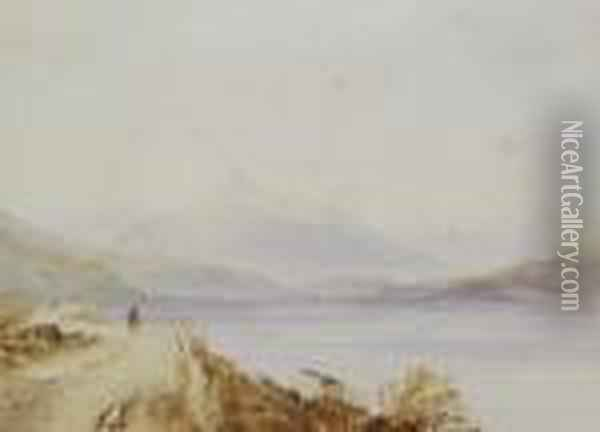 Head Of Lough Long, Landscape With Figure Oil Painting - Anthony Vandyke Copley Fielding