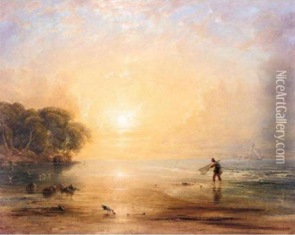 A Fisherboy On The Shore At Sunset Oil Painting - Anthony Vandyke Copley Fielding