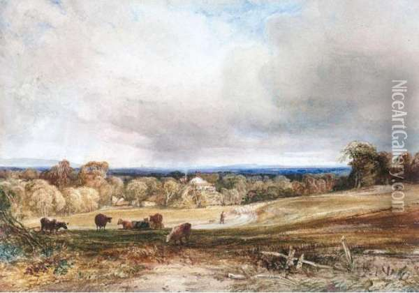 A Shepherd And His Flock On A Country Track, An Extensive View Beyond Oil Painting - Anthony Vandyke Copley Fielding