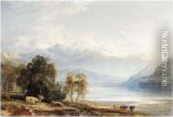 Loch Tay, Perthshire Oil Painting - Anthony Vandyke Copley Fielding
