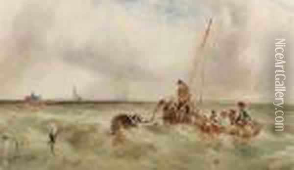 Fishing Smacks And Other Vessels Off The Coast In A Squall Oil Painting - Anthony Vandyke Copley Fielding