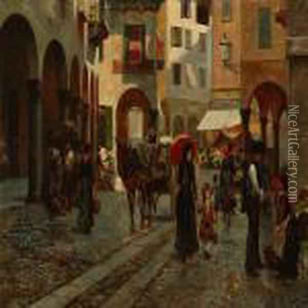 Gade I Lugano Oil Painting - August Fischer