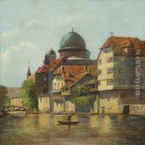 Scenery From N rnberg In Germany With Channel Oil Painting - August Fischer