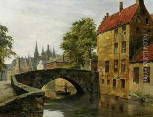 View Of City Hall In Brugge Oil Painting - August Fischer