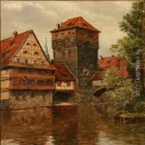 Canal Scene From Nuremberg In Germany Oil Painting - August Fischer