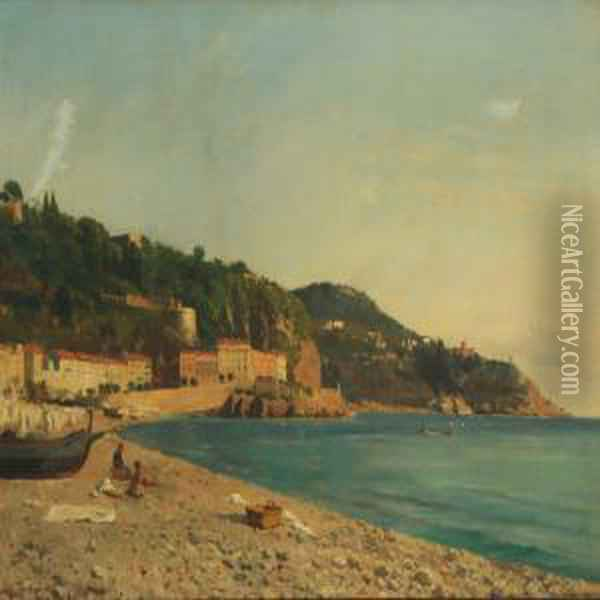 Coastal Scenery From Nice Oil Painting - August Fischer