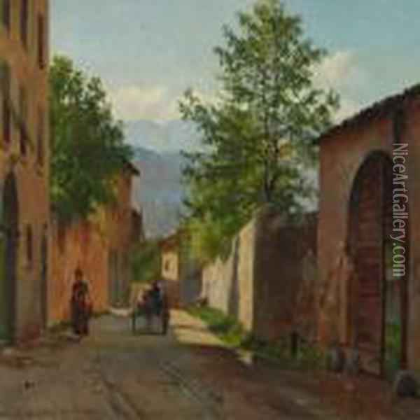 Italian Village With Cart And Woman Oil Painting - August Fischer