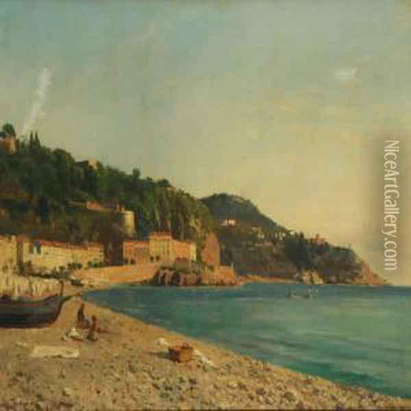 Coastal Scenery Fromnice Oil Painting - August Fischer