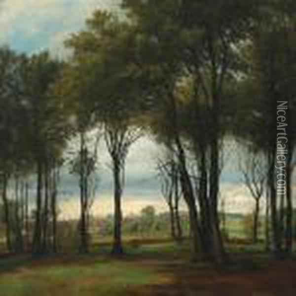 On The Fringes Of Aforest Oil Painting - August Fischer