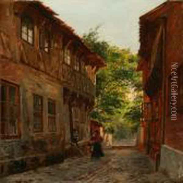 Scene From Ribe With A Woman And A Child On The Street Oil Painting - August Fischer
