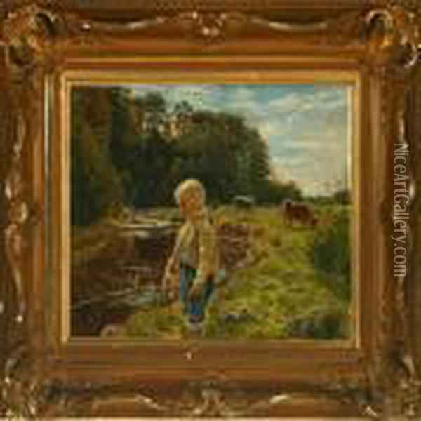 Fishing Boy Oil Painting - August Fischer