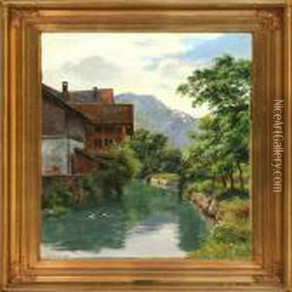 Canal Scene From Germany, Summer Oil Painting - August Fischer