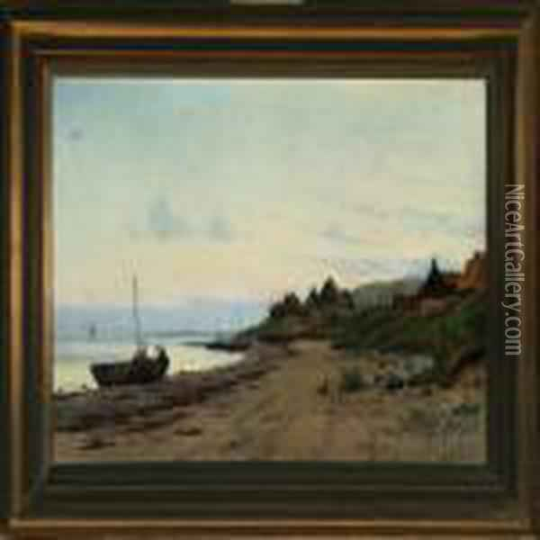 Boats And Fishermen At The Beach Oil Painting - August Fischer